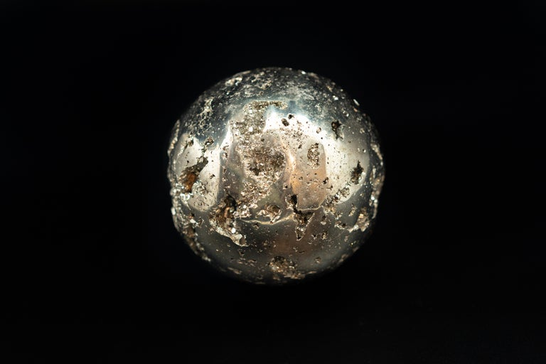Hand-Carved Large Pyrite Sphere For Sale