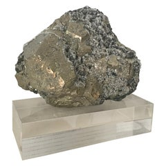 Large Pyrite with Quartz Crystals Specimen on Custom Lucite Base