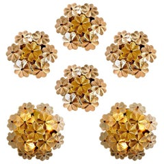 Large Quantity of Glass and Brass Floral Wall Lights from Ernst Palme, 1970s