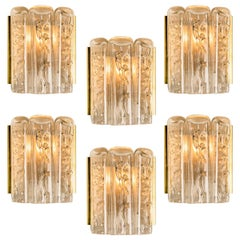 Large Quantity of Structured Blown Glass and Brass Wall Sconces by Doria, 1960