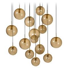 Large Quantity Smoked Blown Globes by Glashütte Limburg, Four Sizes