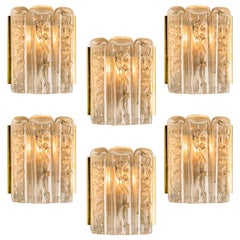Large Quanty of Structured Blown Glass and Brass Wall Sconces by Doria, 1960