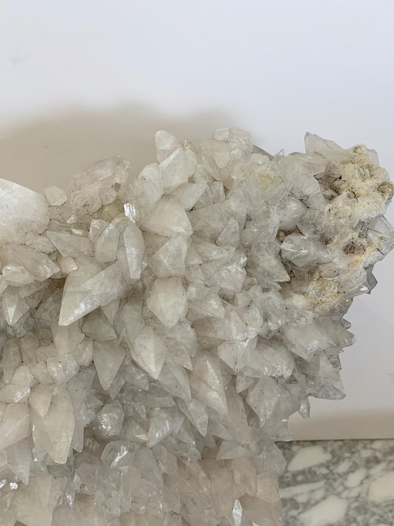 Large Quartz Crystal Specimen on Lucite Base In Good Condition For Sale In Palm Springs, CA