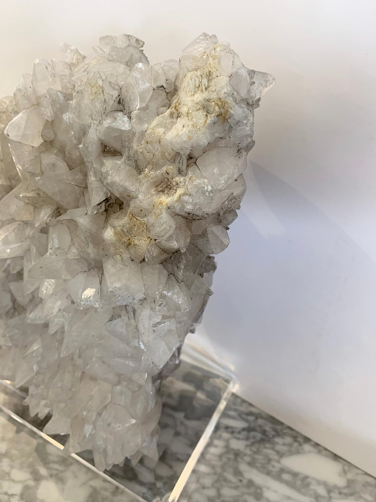 Large Quartz Crystal Specimen on Lucite Base For Sale 1