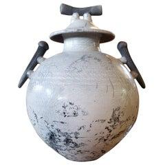 Large Raku Lidded Jar with Striking Crackle Glaze