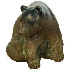 Large Raku Pottery Seated Bear by Tony Evans