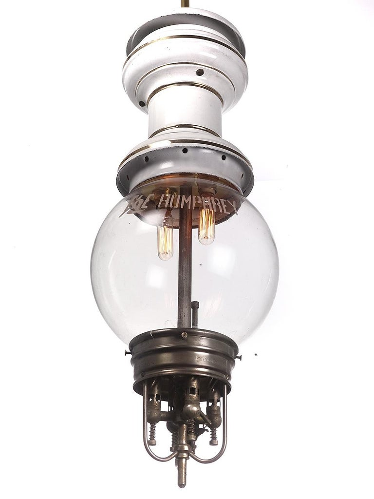 American Large Rare 1901 Humphery Gas Lamps, Electrified For Sale