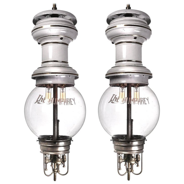 Large Rare 1901 Humphery Gas Lamps, Electrified For Sale