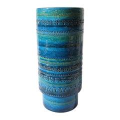 "Large Rare Aldo Londi Bitossi ""Rimini Blu"" Pottery Vase Signed Illums Bolighus"