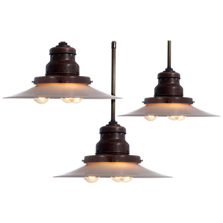 Large, Rare and Desirable Three Bulb Benjamin Pendent