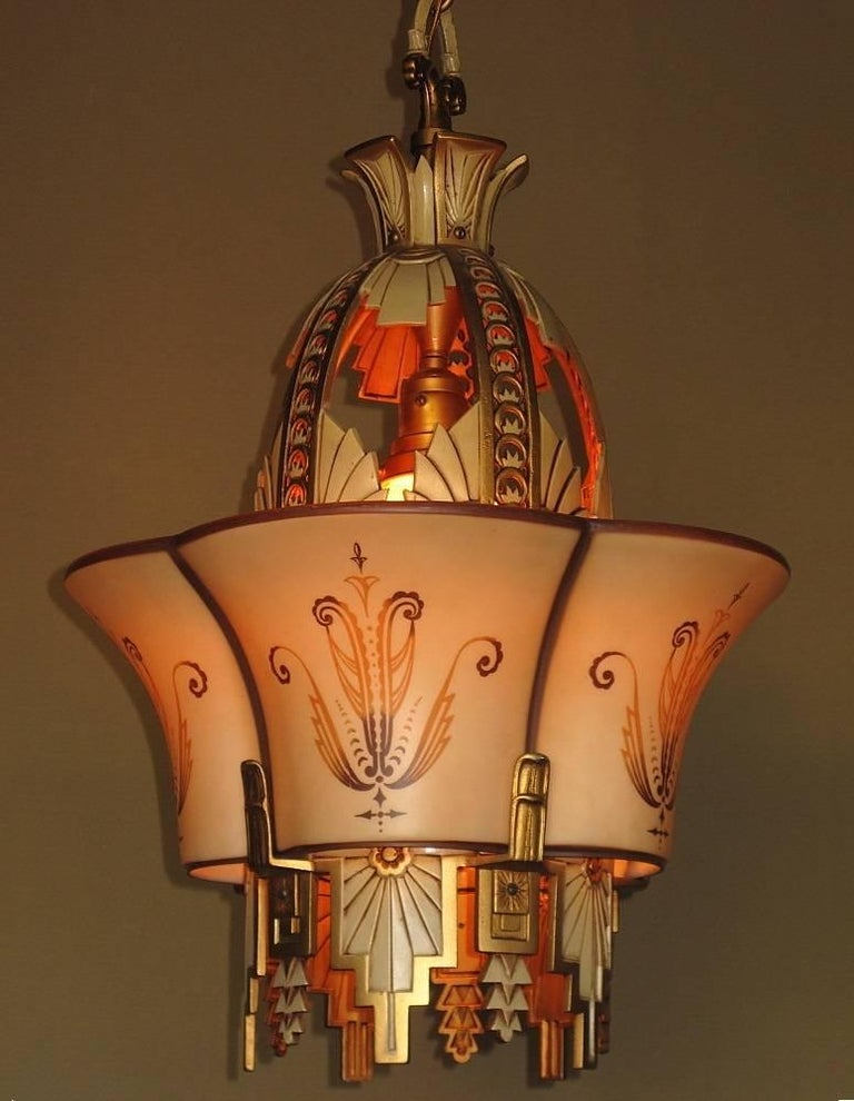 Art Deco Large, Rare Beardslee Chandelier with Matching Sconces For Sale