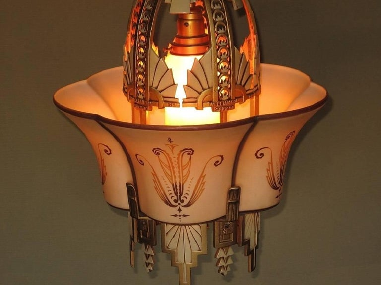 Fired Large, Rare Beardslee Chandelier with Matching Sconces For Sale
