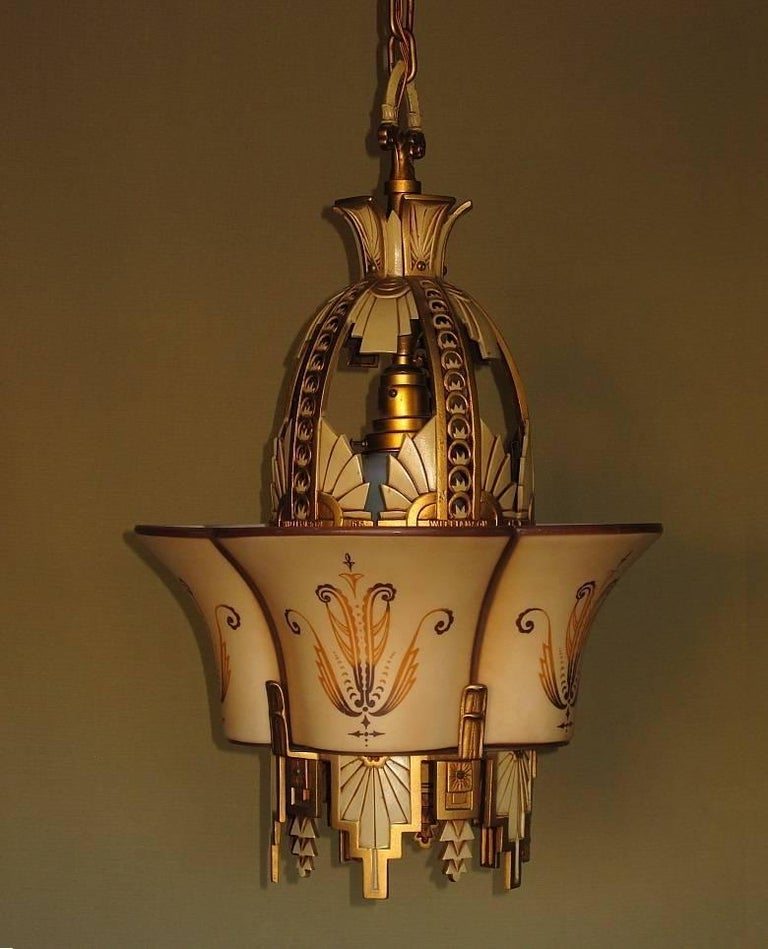Large, Rare Beardslee Chandelier with Matching Sconces In Good Condition For Sale In Prescott, AZ