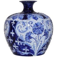 Large Rare Florian Ware Moorcroft Macintyre Blue Vase Pot Art Pottery