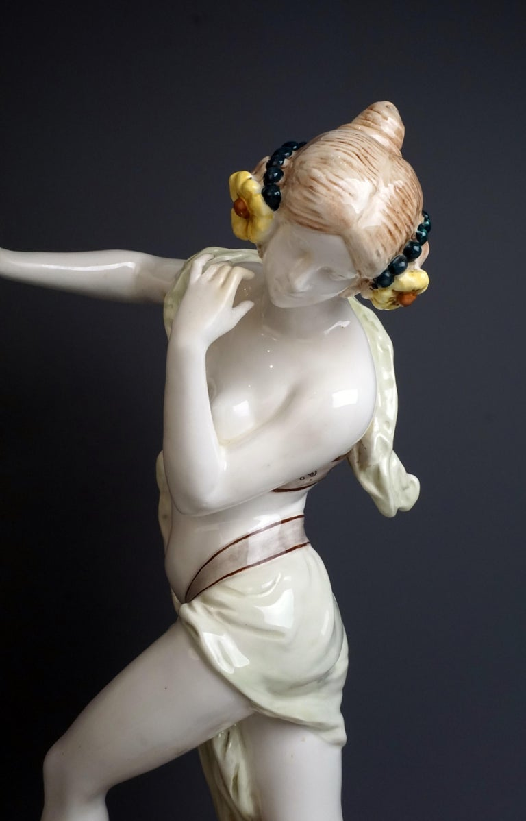 Early 20th Century Large Rare Goldscheider Vienna Art Nouveau Figurine 'Bacchante' by Podola
