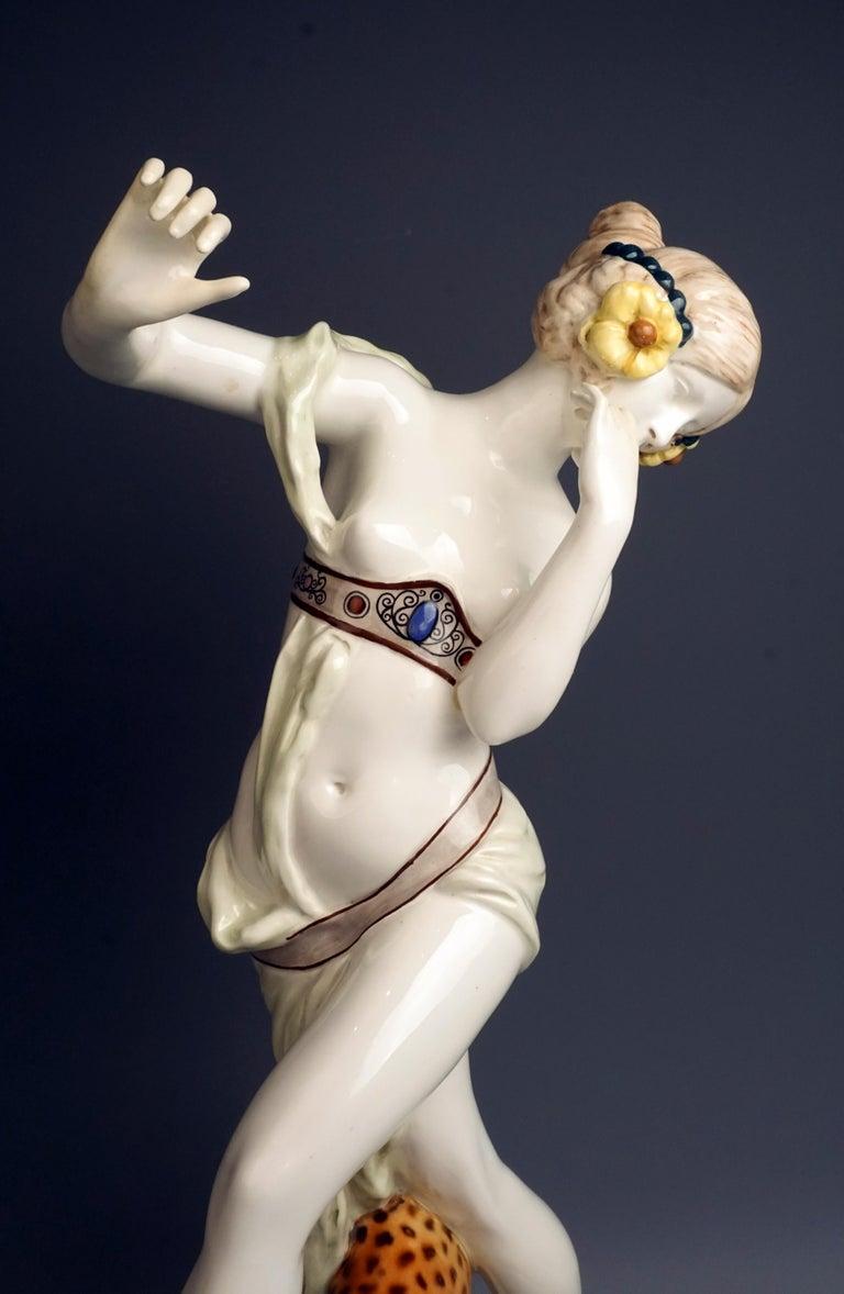 Ceramic Large Rare Goldscheider Vienna Art Nouveau Figurine 'Bacchante' by Podola