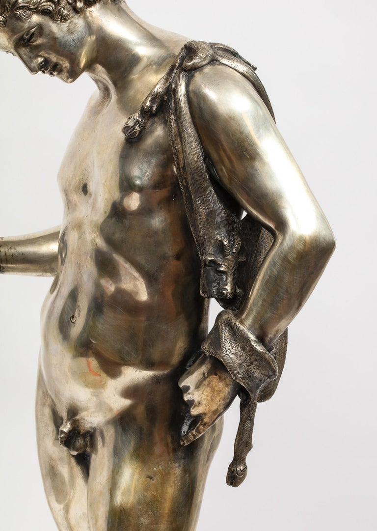 Large Rare Italian Silver Figure Statue of Narcissus, after the Antique For Sale 4