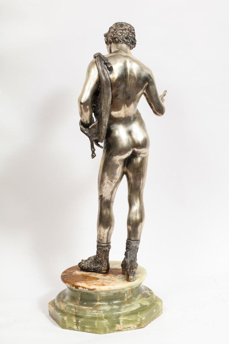 Large Rare Italian Silver Figure Statue of Narcissus, after the Antique For Sale 6