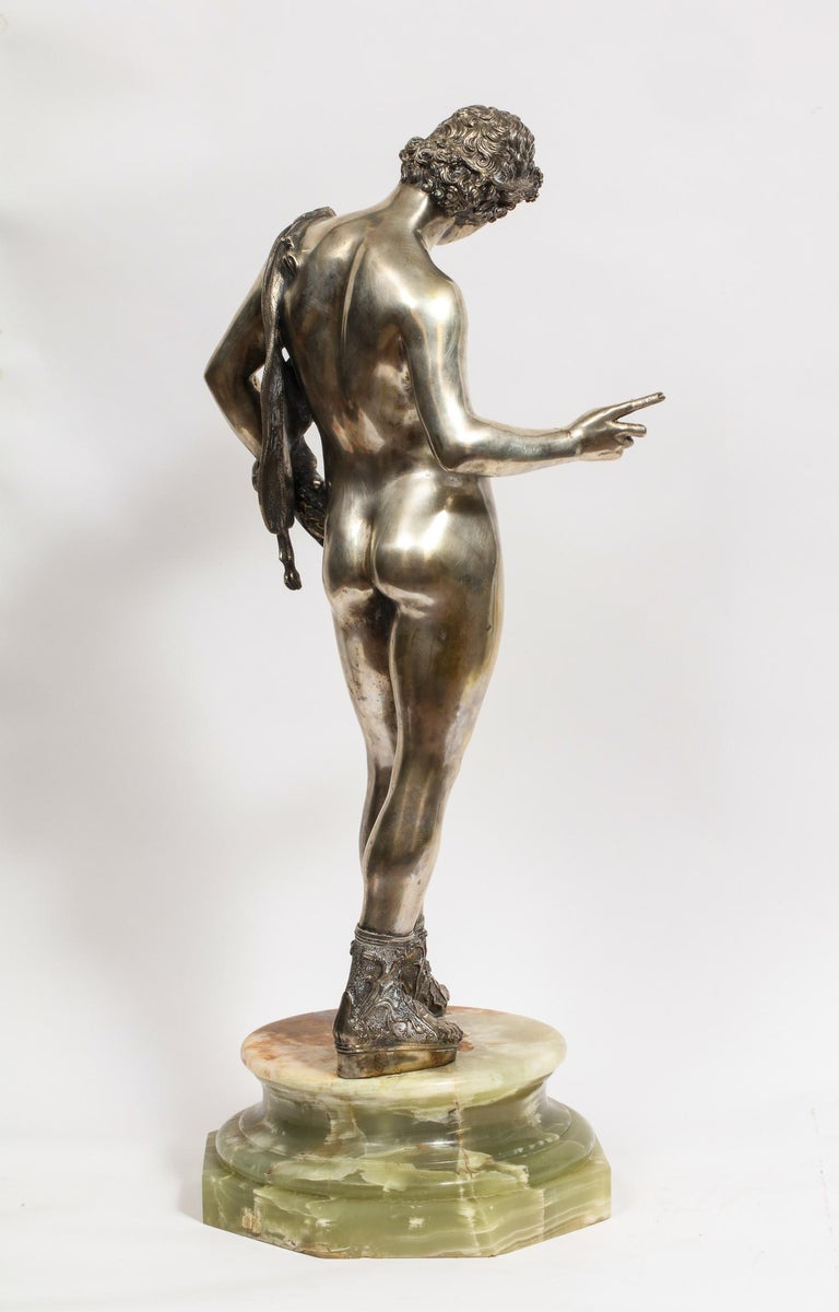 Large Rare Italian Silver Figure Statue of Narcissus, after the Antique For Sale 8