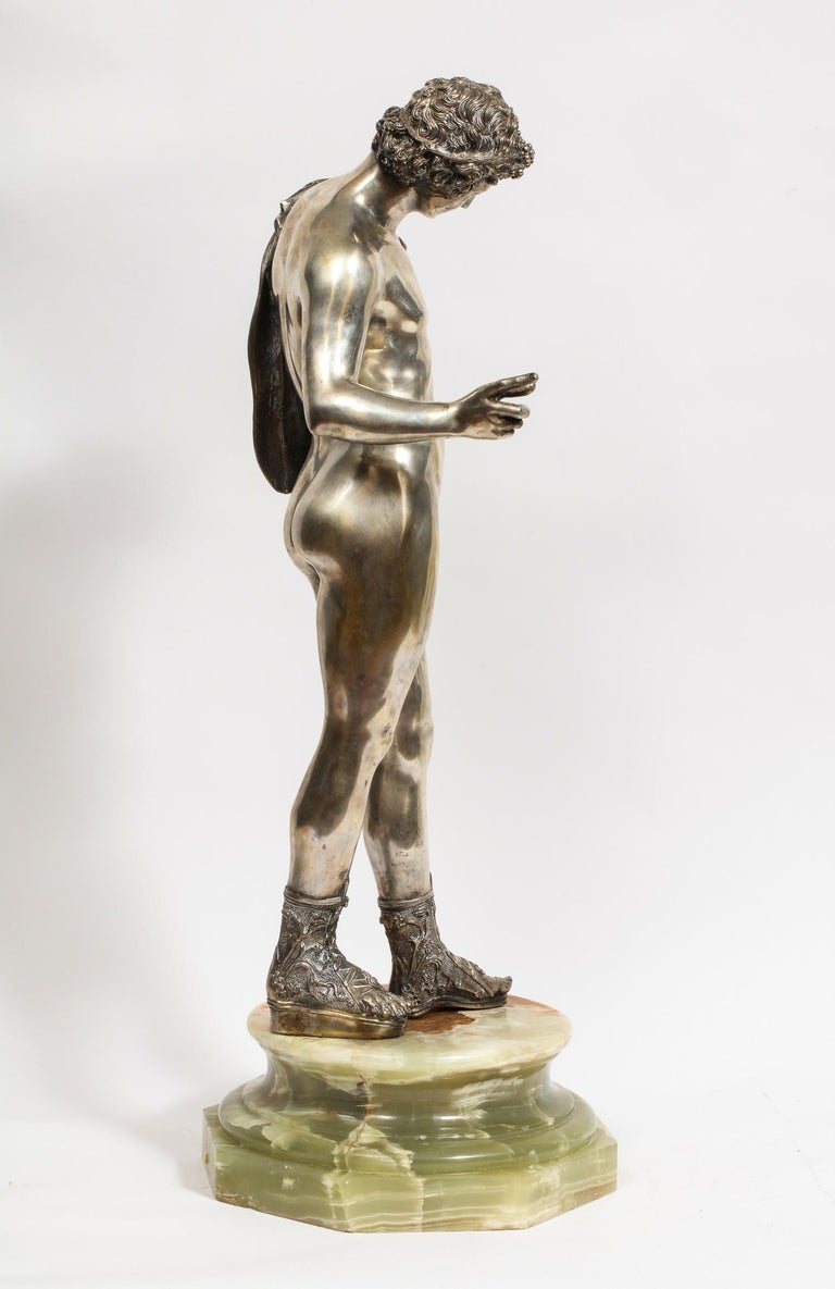 Large Rare Italian Silver Figure Statue of Narcissus, after the Antique For Sale 9