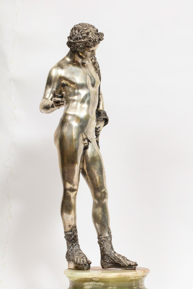 Large Rare Italian Silver Figure Statue of Narcissus, after the Antique For Sale 11