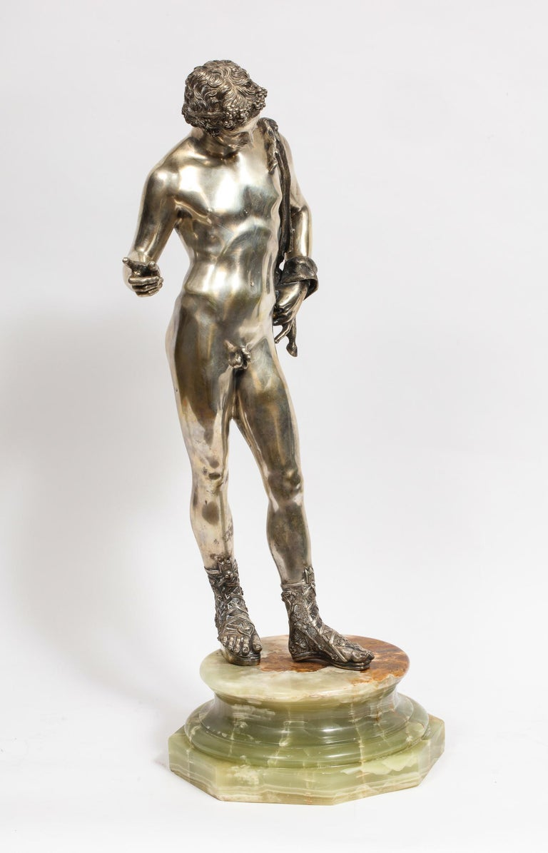 Classical Roman Large Rare Italian Silver Figure Statue of Narcissus, after the Antique For Sale