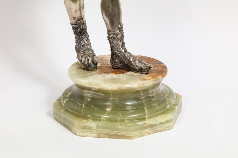 Large Rare Italian Silver Figure Statue of Narcissus, after the Antique In Good Condition For Sale In New York, NY