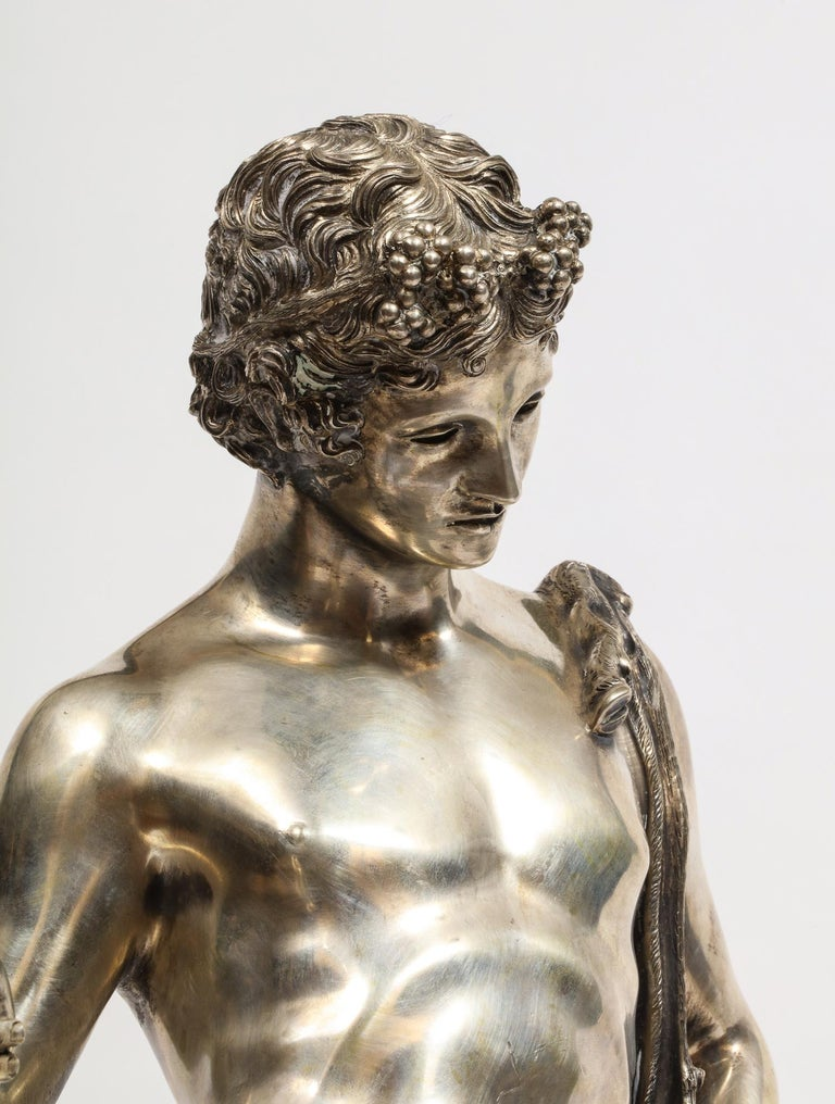 20th Century Large Rare Italian Silver Figure Statue of Narcissus, after the Antique For Sale