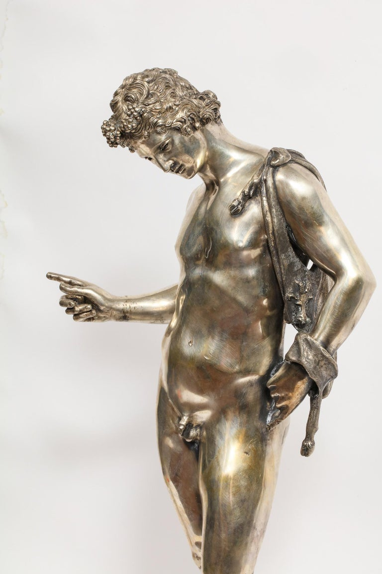 Sterling Silver Large Rare Italian Silver Figure Statue of Narcissus, after the Antique For Sale