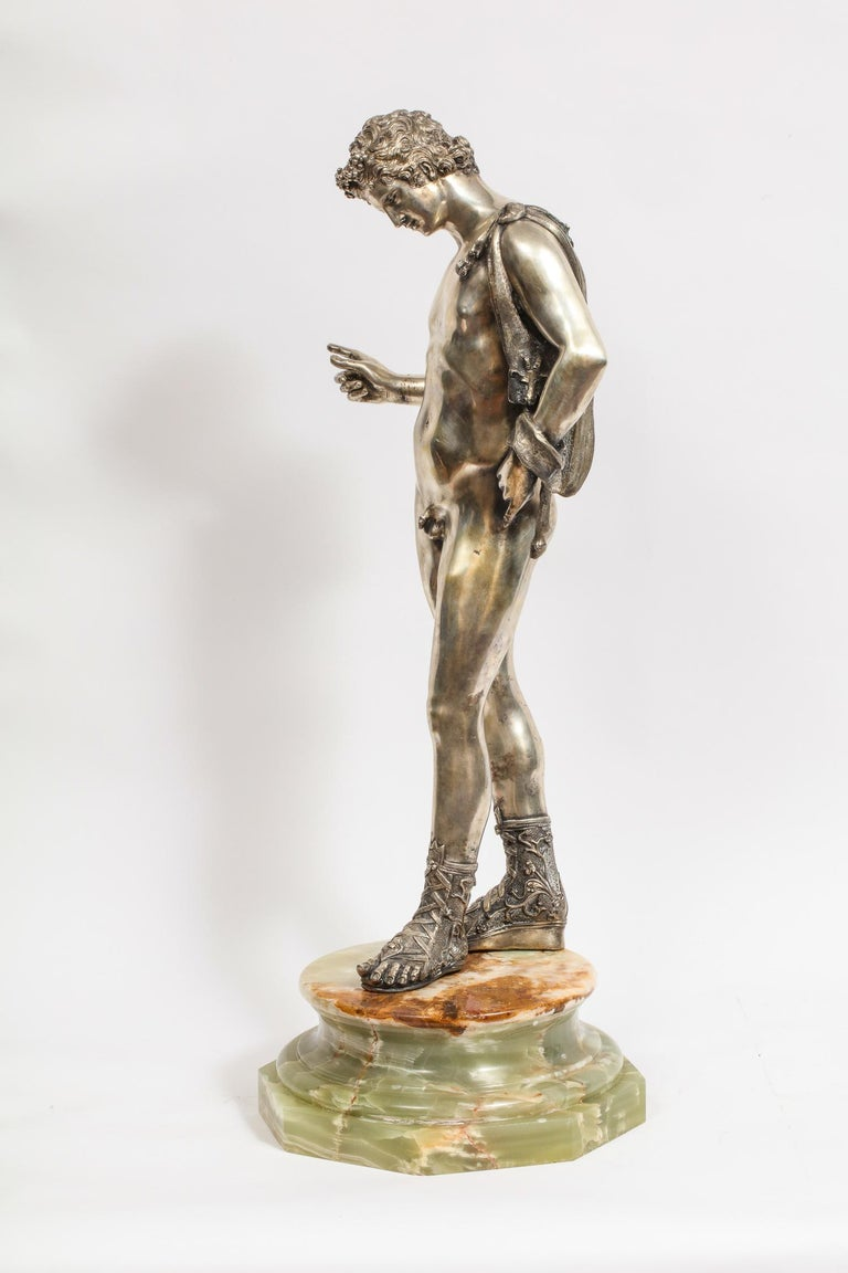 Large Rare Italian Silver Figure Statue of Narcissus, after the Antique For Sale 1