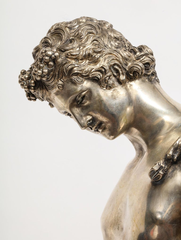 Large Rare Italian Silver Figure Statue of Narcissus, after the Antique For Sale 2