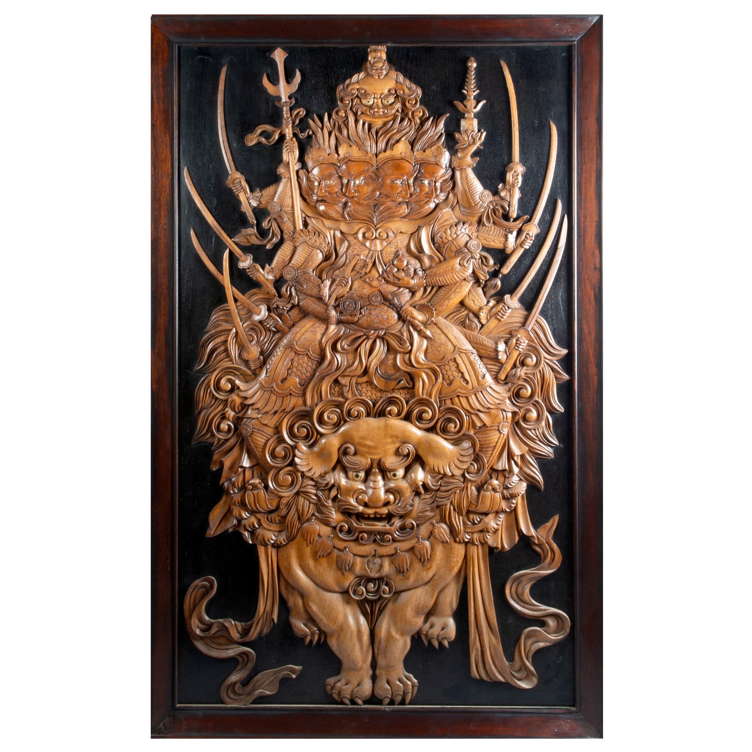 Large Rare Japanese Meiji Period Carved Wood Panel, 19th Century