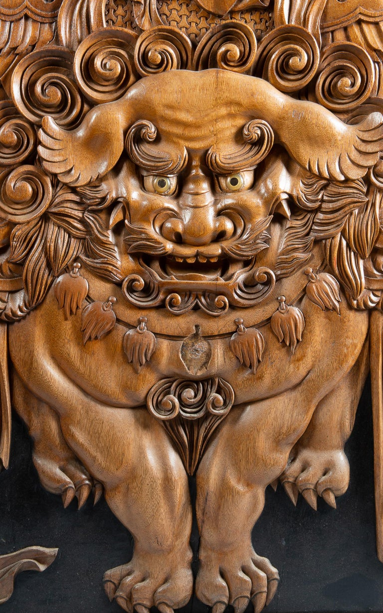 Large Rare Japanese Meiji Period Carved Wood Panel, 19th Century In Good Condition For Sale In Brighton, Sussex