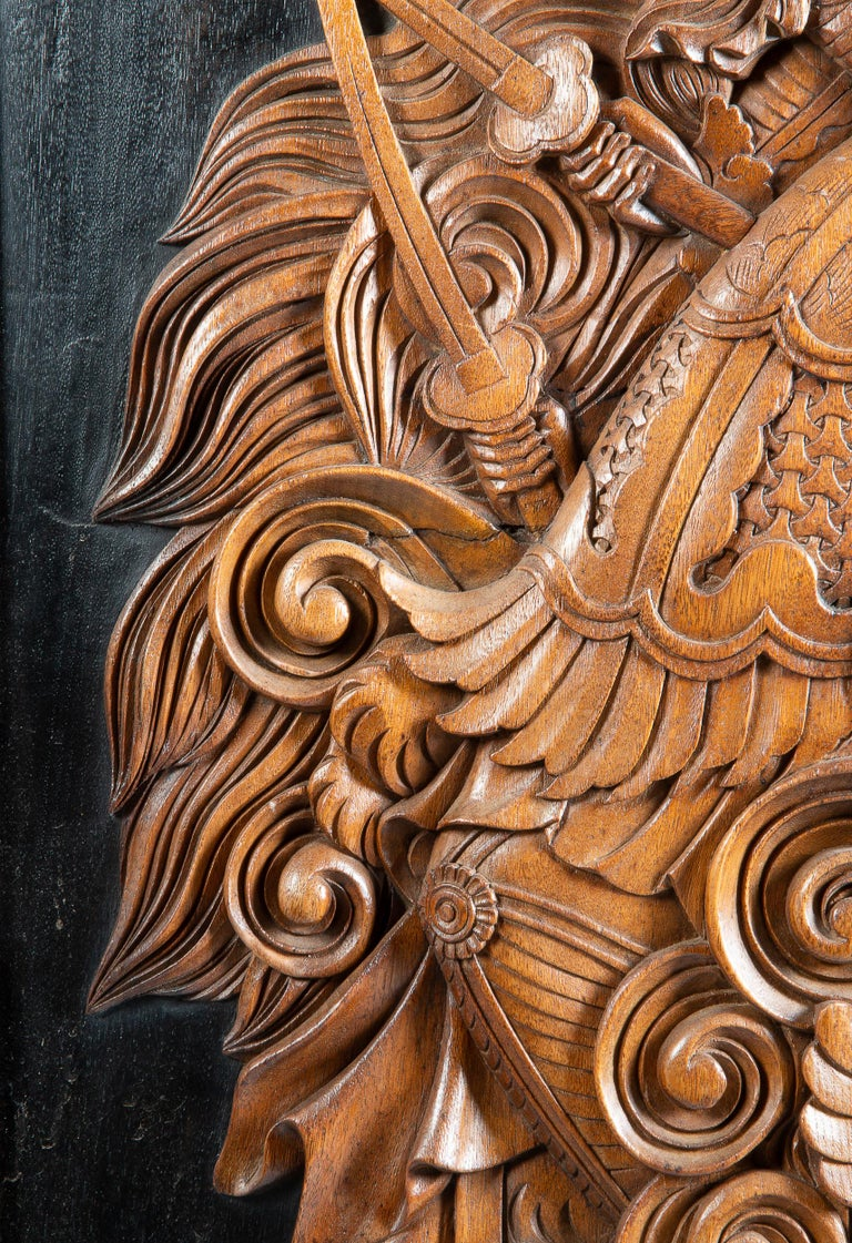 Hardwood Large Rare Japanese Meiji Period Carved Wood Panel, 19th Century For Sale