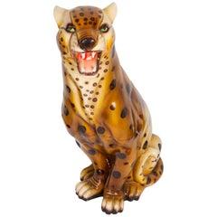 Large Rare Leopard Ceramic Sculpture, Italy, 1960s