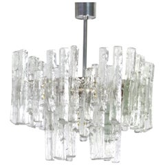 Large Rare Murano Ice Glass Chandelier by Kalmar, Austria, 1960s