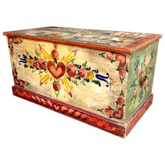 Large Rare Peter Hunt Hand Painted Folk Art Chest Signed and Dated 1944