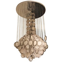 Large Rare Vistosi Opal Glass and Chrome Discs Chandelier, Murano, Italy, 1960s
