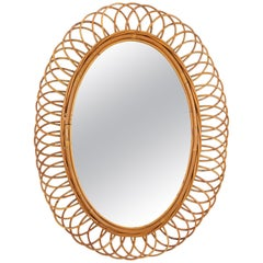 Large Rattan and Bamboo Flower Shaped Oval Mirror, Spain, 1960s