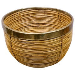 Large Rattan and Brass Midcentury Handcrafted Bowl, Austria, 1950s