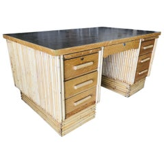 Large Rattan Executive Desk with Stacked Base and Solid Mahogany Top