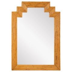 Large Rattan Frame Mirror, France, 1960's