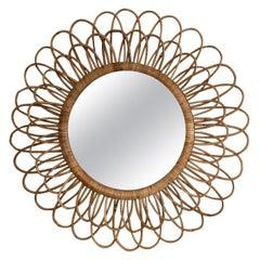 Large Rattan Sunburst Round Mirror