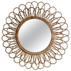 Woven Rattan Sunburst Round Mirror