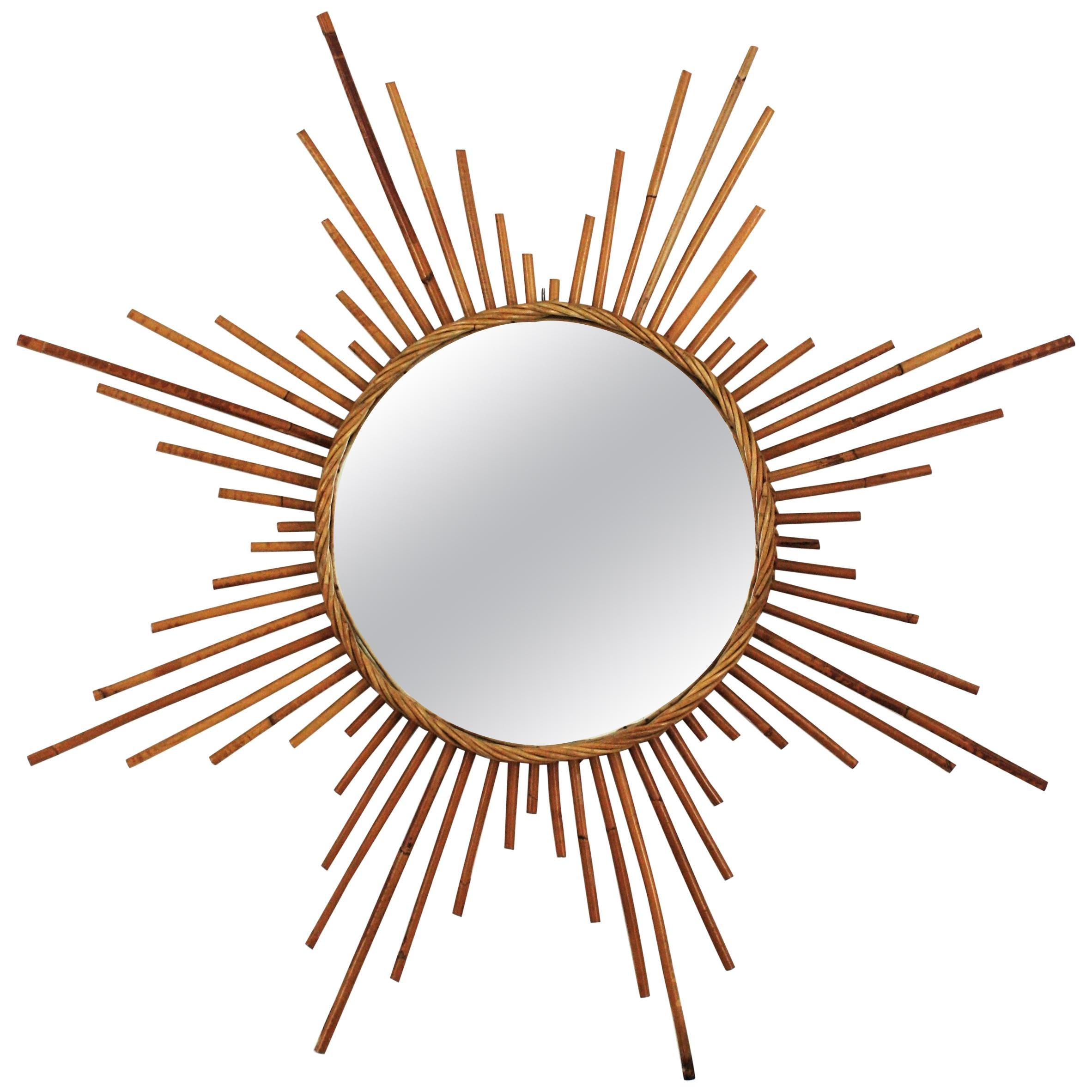 Large Rattan Sunburst Starburst Mirror, 1960s