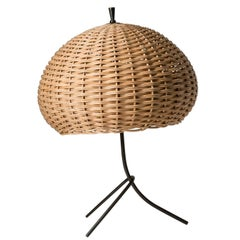 Large Rattan Table Lamp, 1950s