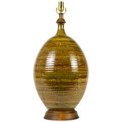 Large Raw Umber Olive Ceramic Table Lamp