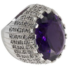 Large Real Amethyst Set In A CZ Pave Sterling Chunky Ring