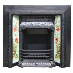 Large Reclaimed Victorian Cast Iron and Tiled Fireplace Insert