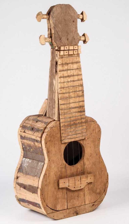 Large Reclaimed Wood Guitar Sculpture by African Folk Artist Nii Adum For Sale 5